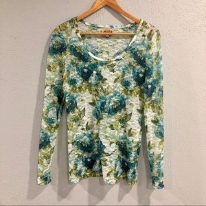 Mudd | Blue Green Floral Lace Sheer Long Sleeve